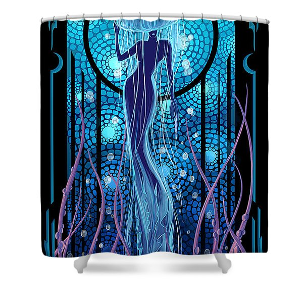 Shower Curtain featuring the painting Jellyfish Mermaid by Sassan Filsoof