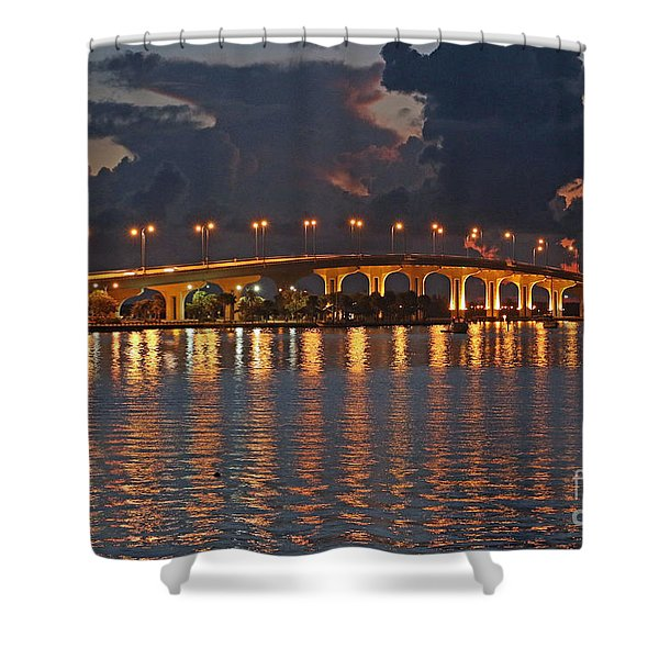 Shower Curtain featuring the photograph Jensen Beach Causeway by Tom Claud