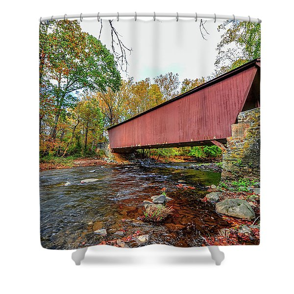 Jericho Covered Bridge In Maryland During Autumn Shower Curtain
