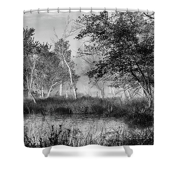 Jersey Pine Lands In Black - White Shower Curtain
