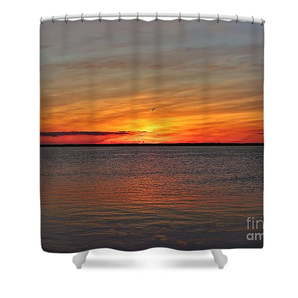 Jersey Shore Sunset Hdr Shower Curtain