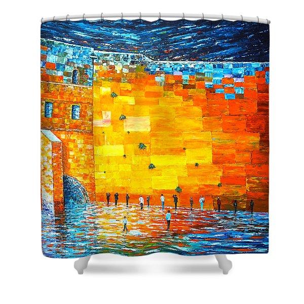 Jerusalem Wailing Wall Original Acrylic Palette Knife Painting Shower Curtain