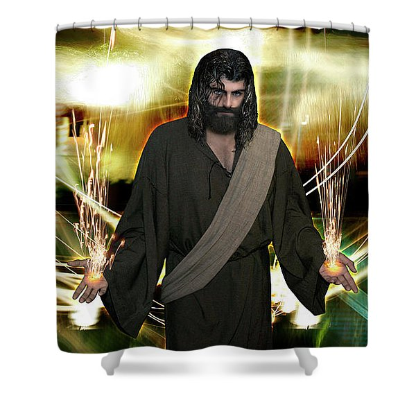 Jesus Christ- God Shines In Glorious Radiance Shower Curtain