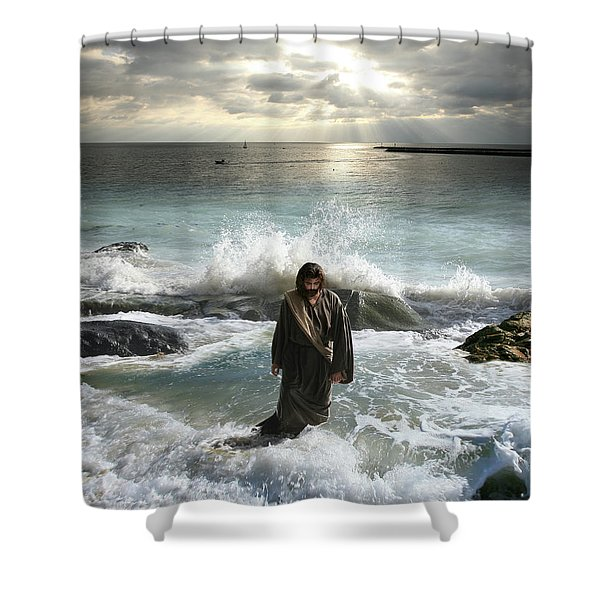 Jesus Christ- I Have Come As A Light Into The World Shower Curtain