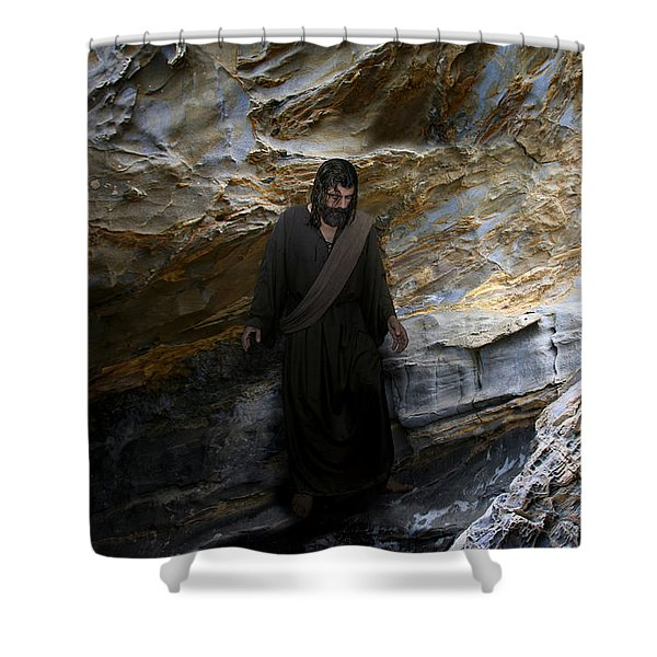 Jesus Christ- The Lord Is My Light And My Salvation Shower Curtain