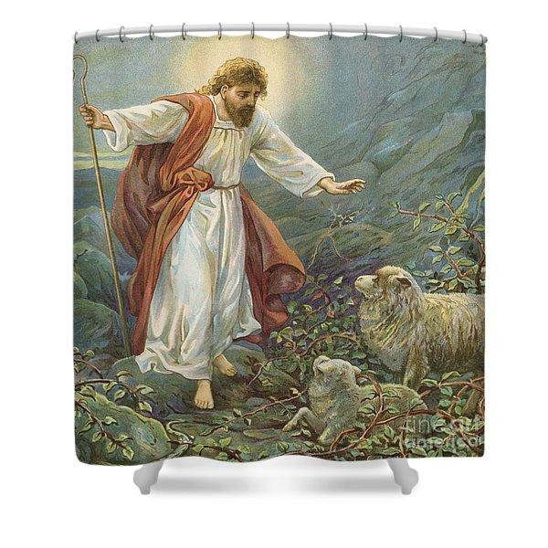 Jesus Christ The Tender Shepherd Shower Curtain