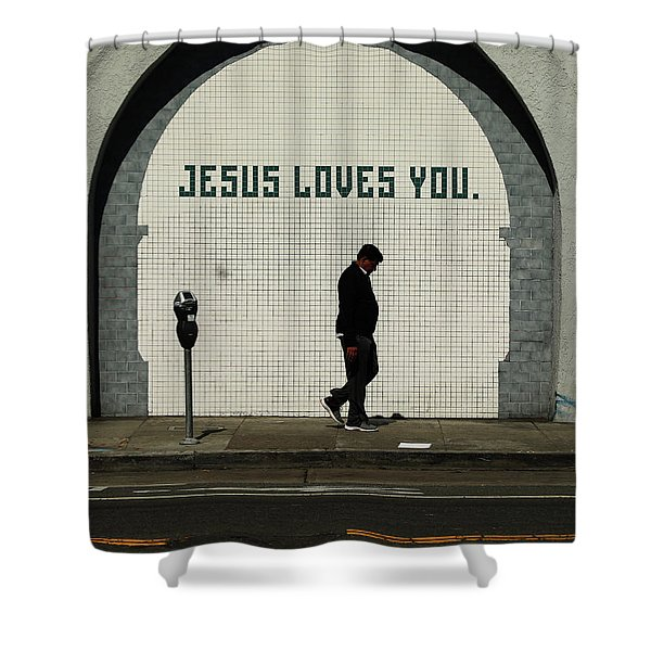 Jesus Loves You Shower Curtain