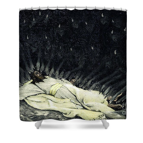 Jesus Ministered To By Angels  Shower Curtain