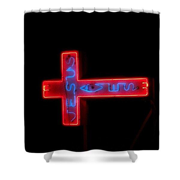 Jesus Saves At Night Shower Curtain