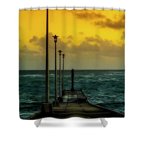 Jetty At Sunrise Shower Curtain