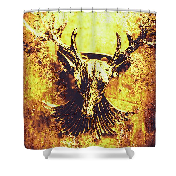 Jewel Deer Head Art Shower Curtain