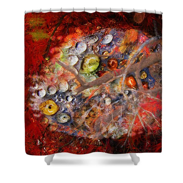 Jewels And The Japanese Maple Shower Curtain