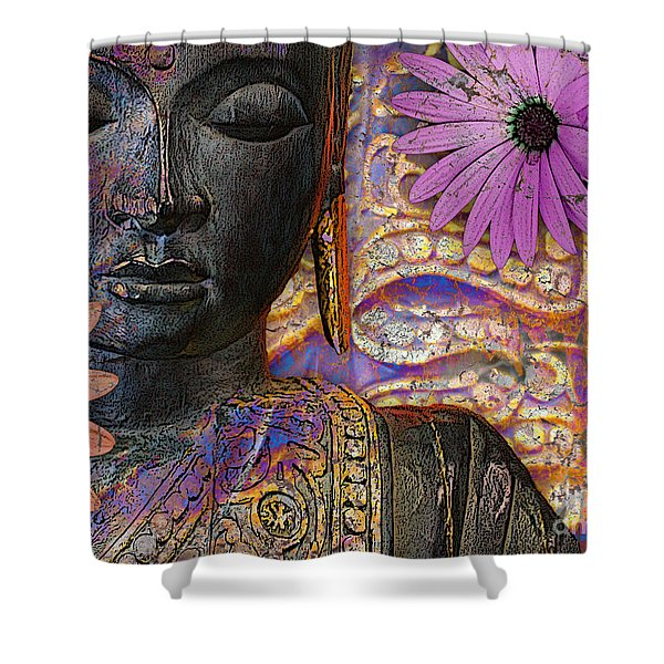 Jewels Of Wisdom - Buddha Floral Artwork Shower Curtain