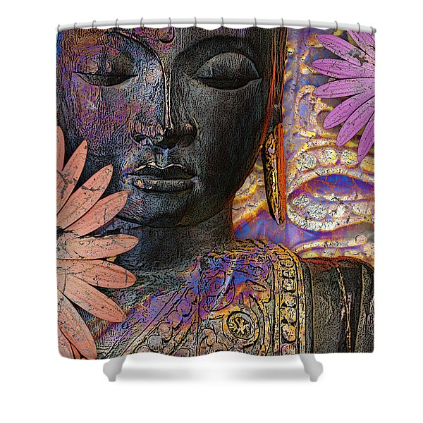 Shower Curtain featuring the mixed media Jewels Of Wisdom - Buddha Floral Artwork by Christopher Beikmann