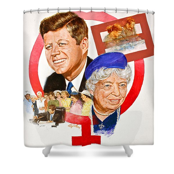 Shower Curtain featuring the painting Jfk And Elenore Roosevelt  by Cliff Spohn