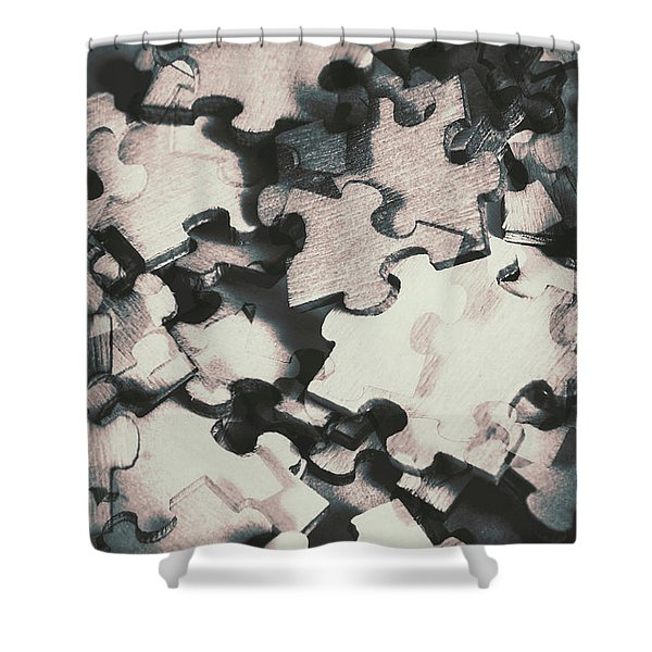 Jigsaws Of Double Exposure Shower Curtain