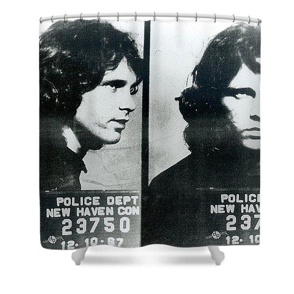 Jim Morrison Mug Shot Horizontal Shower Curtain