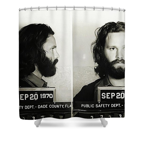 Jim Morrison Mugshot Shower Curtain