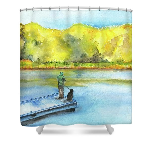 Jimmy And Jadah Fishing Off The Winooski River Boat Launch In Colchester Vt Shower Curtain