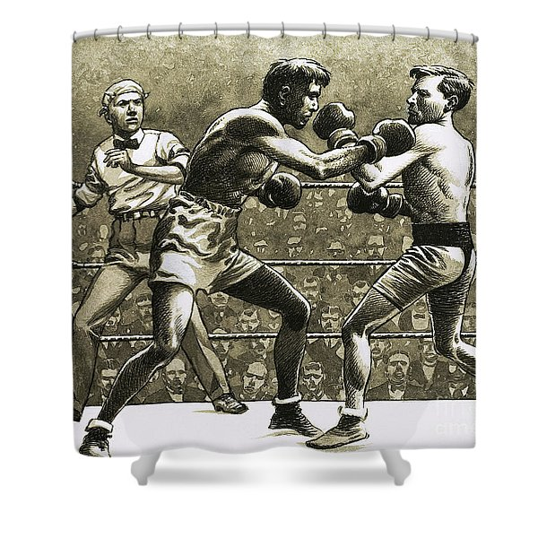 Jimmy Wilde Boxing Pancho Villa In New York Shower Curtain
