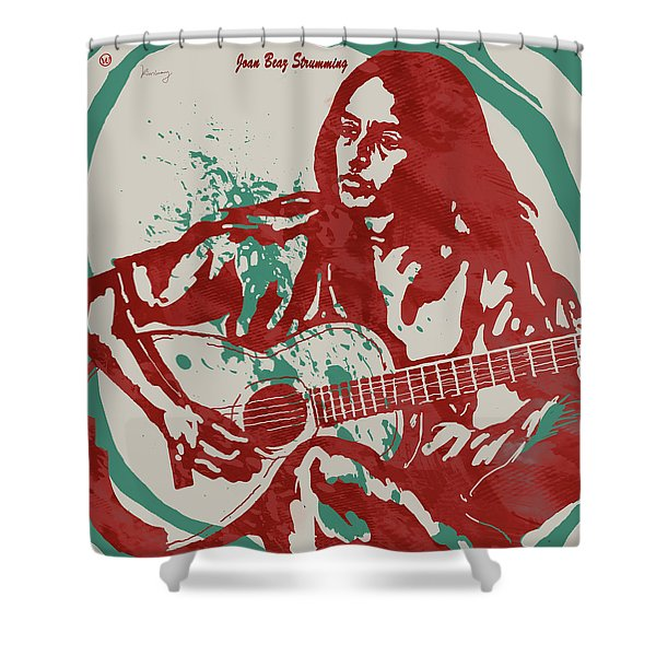 Joan Baez Strumming Pop Stylised Art Sketch Poster Shower Curtain