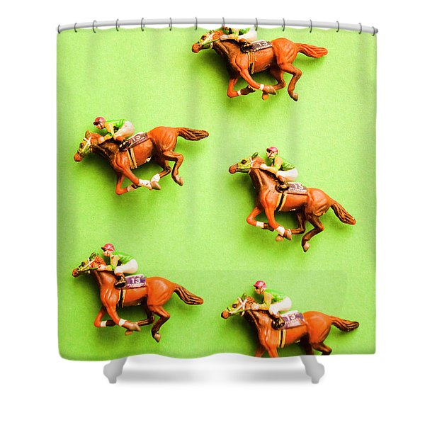 Jockeys And Horses Shower Curtain