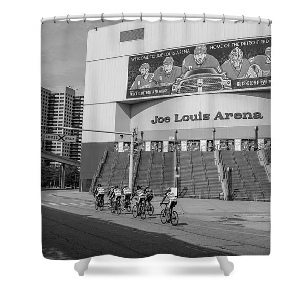 Joe Louis Arena Black And White With Bikers Shower Curtain