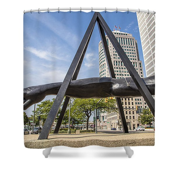 Joe Louis Fist In Detroit In Color  Shower Curtain