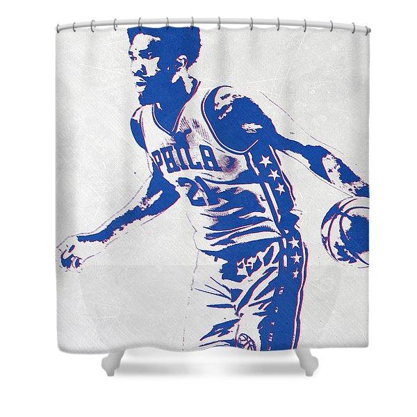 Joel Embiid Philadelphia Sixers Pixel Art Shower Curtain