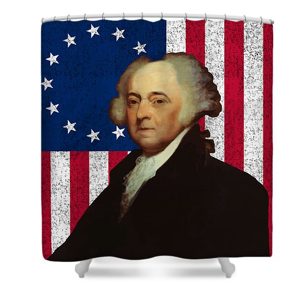 John Adams And The American Flag Shower Curtain