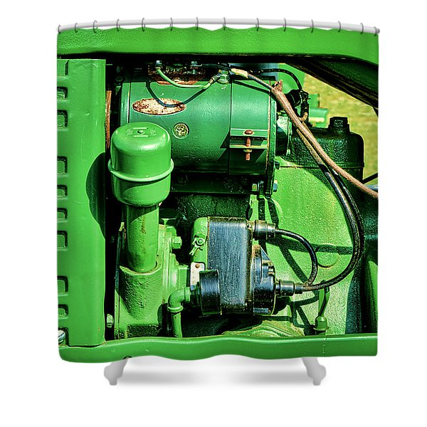 John Deere Tractor Engine Detail Shower Curtain