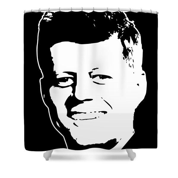 John F Kennedy White On Black Pop Art Shower Curtain