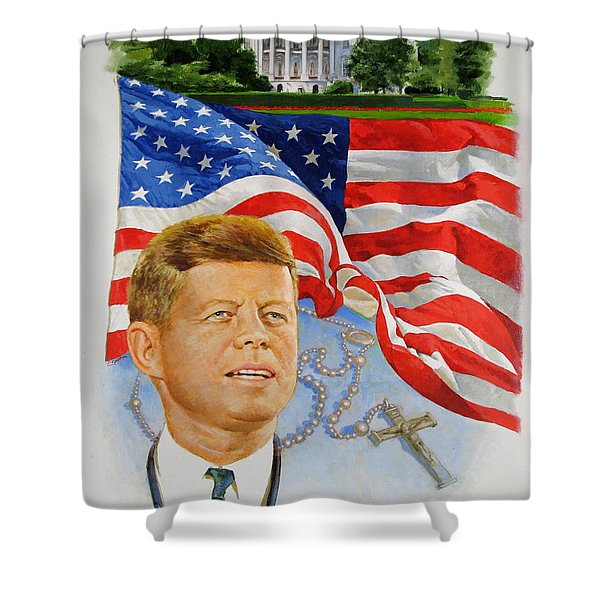 Shower Curtain featuring the painting John Kennedy Catholic by Cliff Spohn