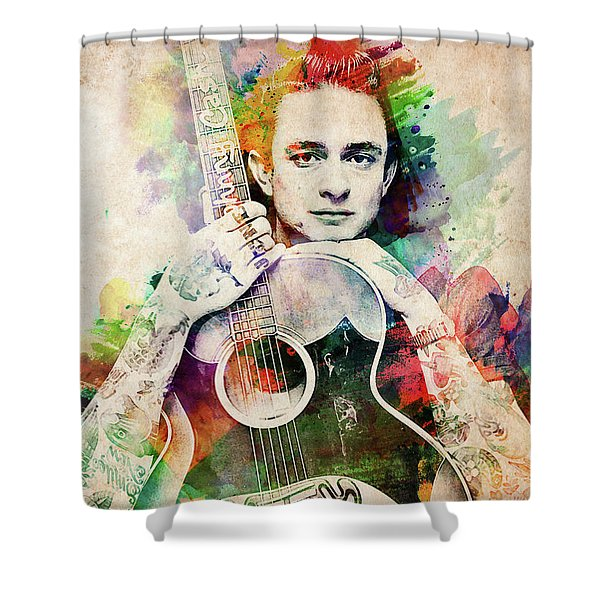 Johnny Cash With Guitar Shower Curtain