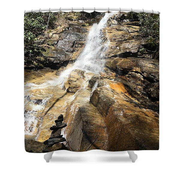 Jones Gap Falls And Monument Shower Curtain