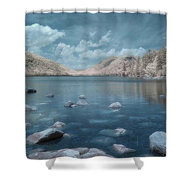 Jordan Pond Blue Shower Curtain