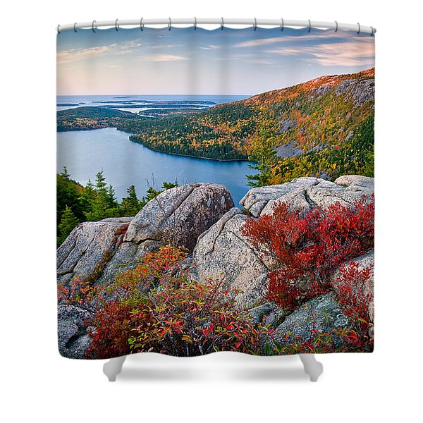 Jordan Pond Sunrise  Shower Curtain