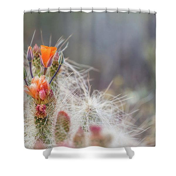 Joshua Tree Cactus And Flower Shower Curtain