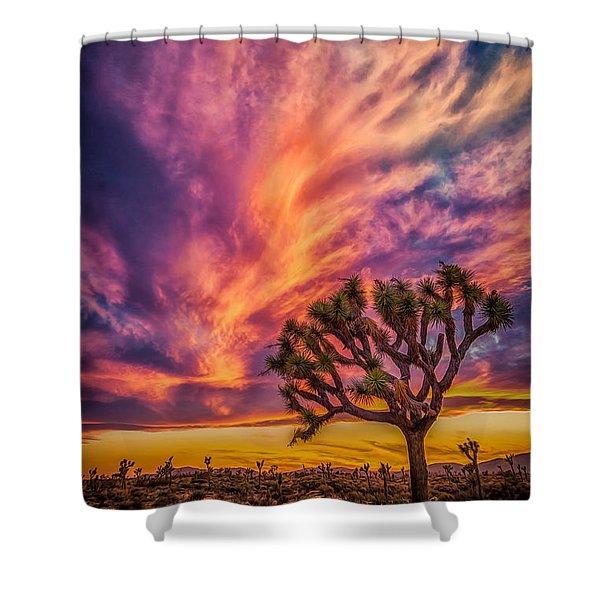 Joshua Tree In The Glowing Swirls Shower Curtain