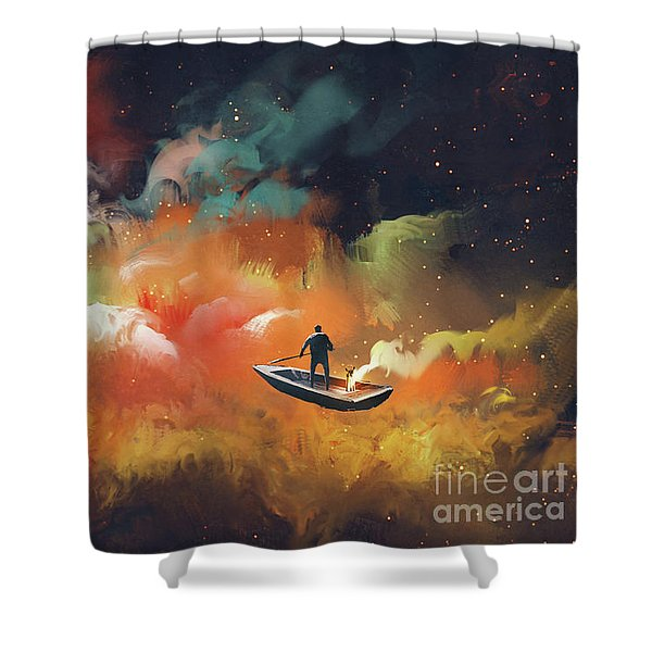 Shower Curtain featuring the painting Journey To Outer Space by Tithi Luadthong