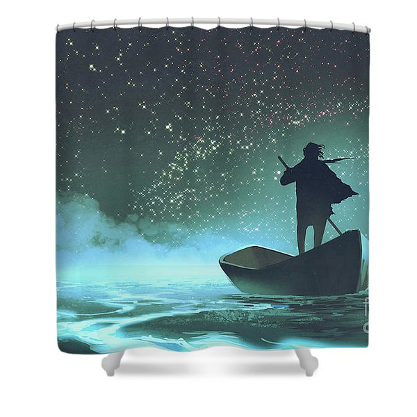 Shower Curtain featuring the painting Journey To The New World by Tithi Luadthong
