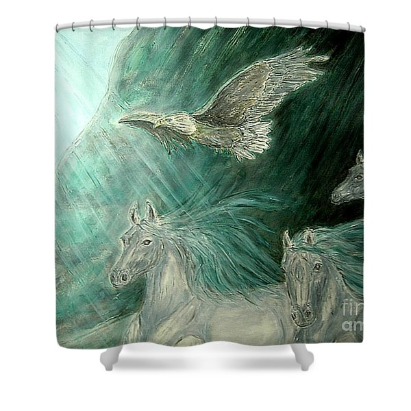 Journeyscape-out Of Darkness Shower Curtain