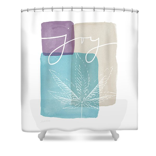 Joy Cannabis Leaf Watercolor- Art By Linda Woods Shower Curtain