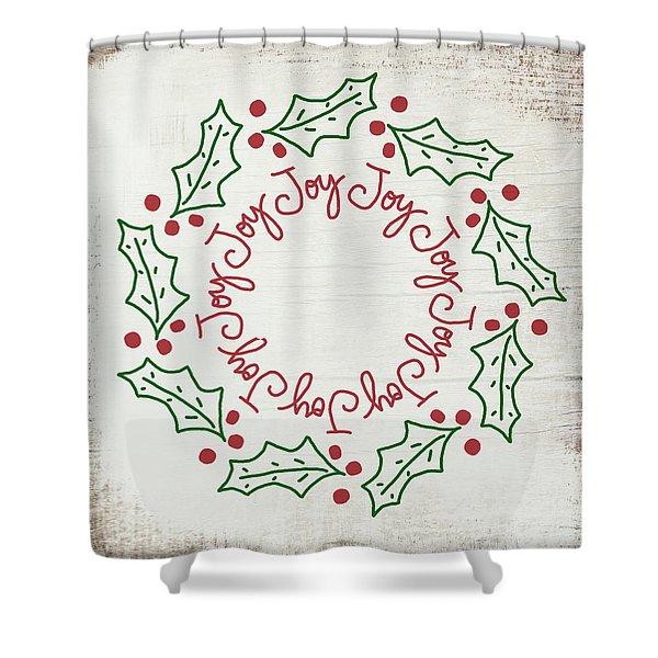 Joy Holly Wreath- Art By Linda Woods Shower Curtain