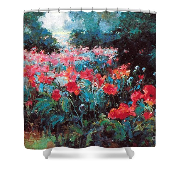 Shower Curtain featuring the painting Joy by Rosario Piazza