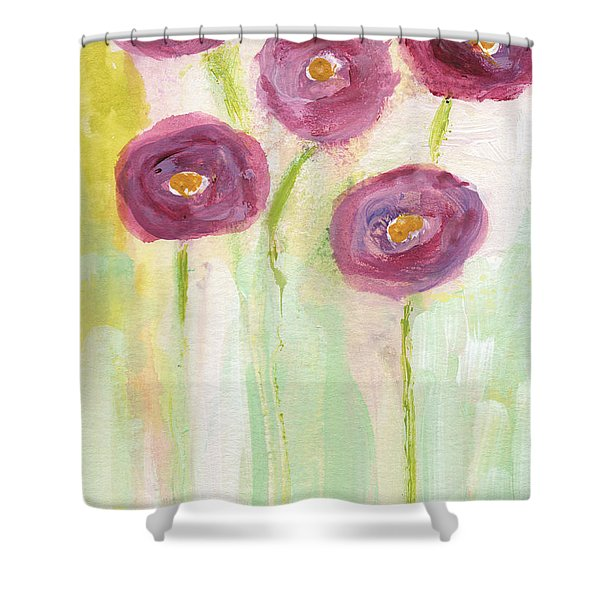 Joyful Poppies- Abstract Floral Art Shower Curtain
