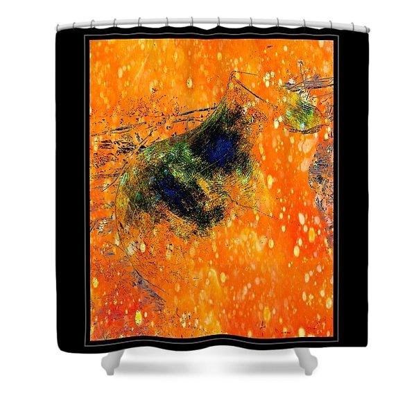 Jug In Black And Orange Shower Curtain