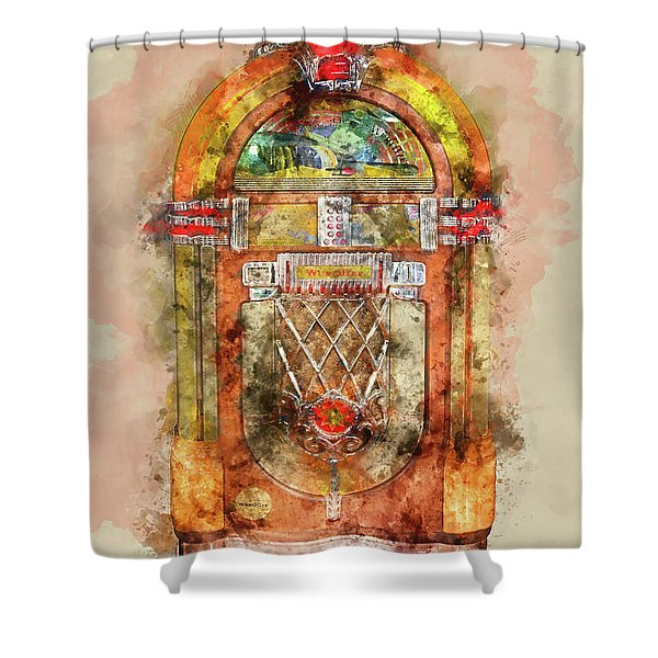 Jukebox Watercolor Shower Curtain