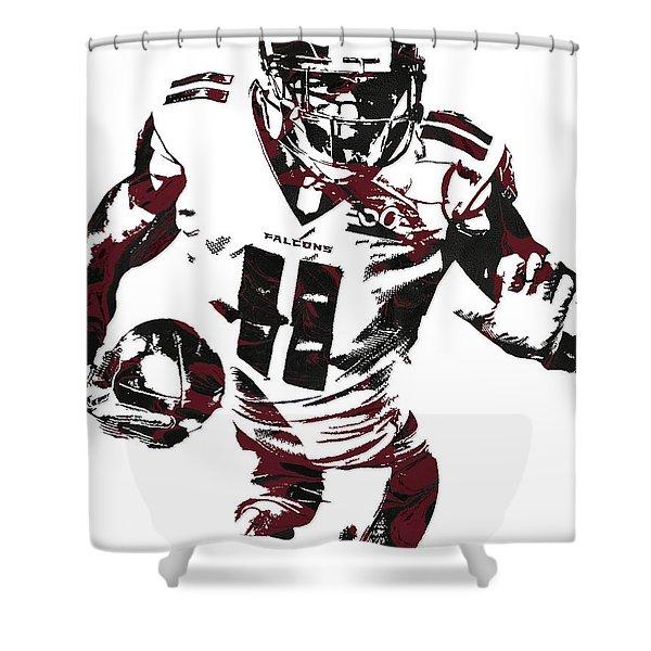 Julio Jones Atlanta Falcons Pixel Art 4 Shower Curtain
