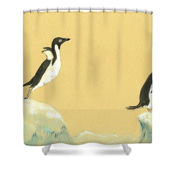 Jumping Penguins Shower Curtain